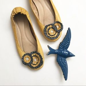 ** Chocolat Blu ** yellow leather floral flats